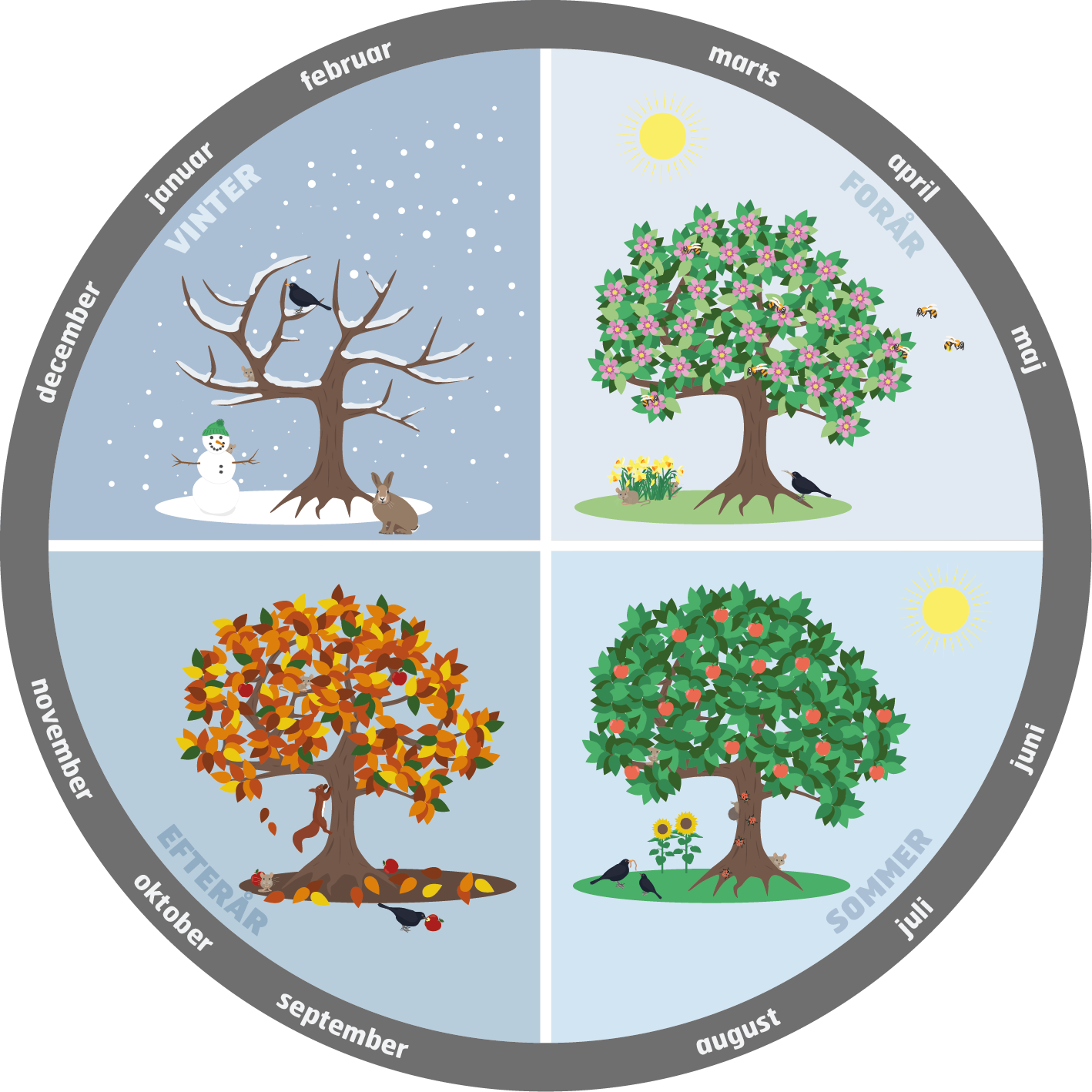 Aarstiderne-sommer-vinter-foraar-efteraar-sne-sol-blade-mutedesign